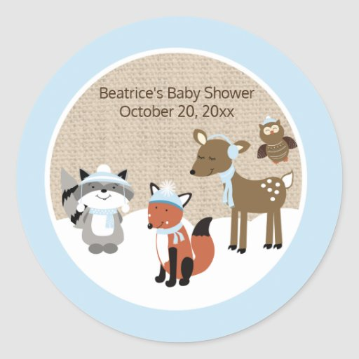 Winter Woodland Animals Round Favor Sticker (Blue)