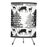 Winter Woodland Animals Rustic Deer Pine Trees Tripod Lamp