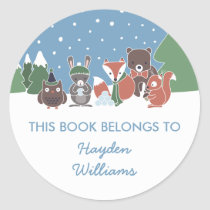 Winter Woodland Animals This Book Belongs To Classic Round Sticker