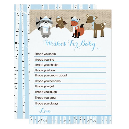 Winter Woodland Animals Wishes for Baby (Blue) Card