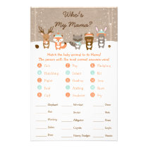 Winter Woodland Baby Shower Animal Match Game Flyer