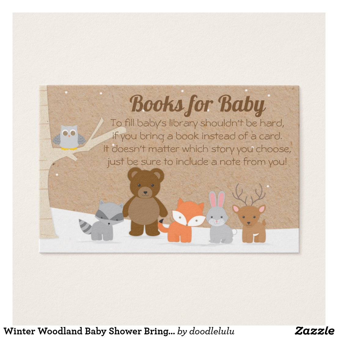 Winter Woodland Baby Shower Bring a Book Card