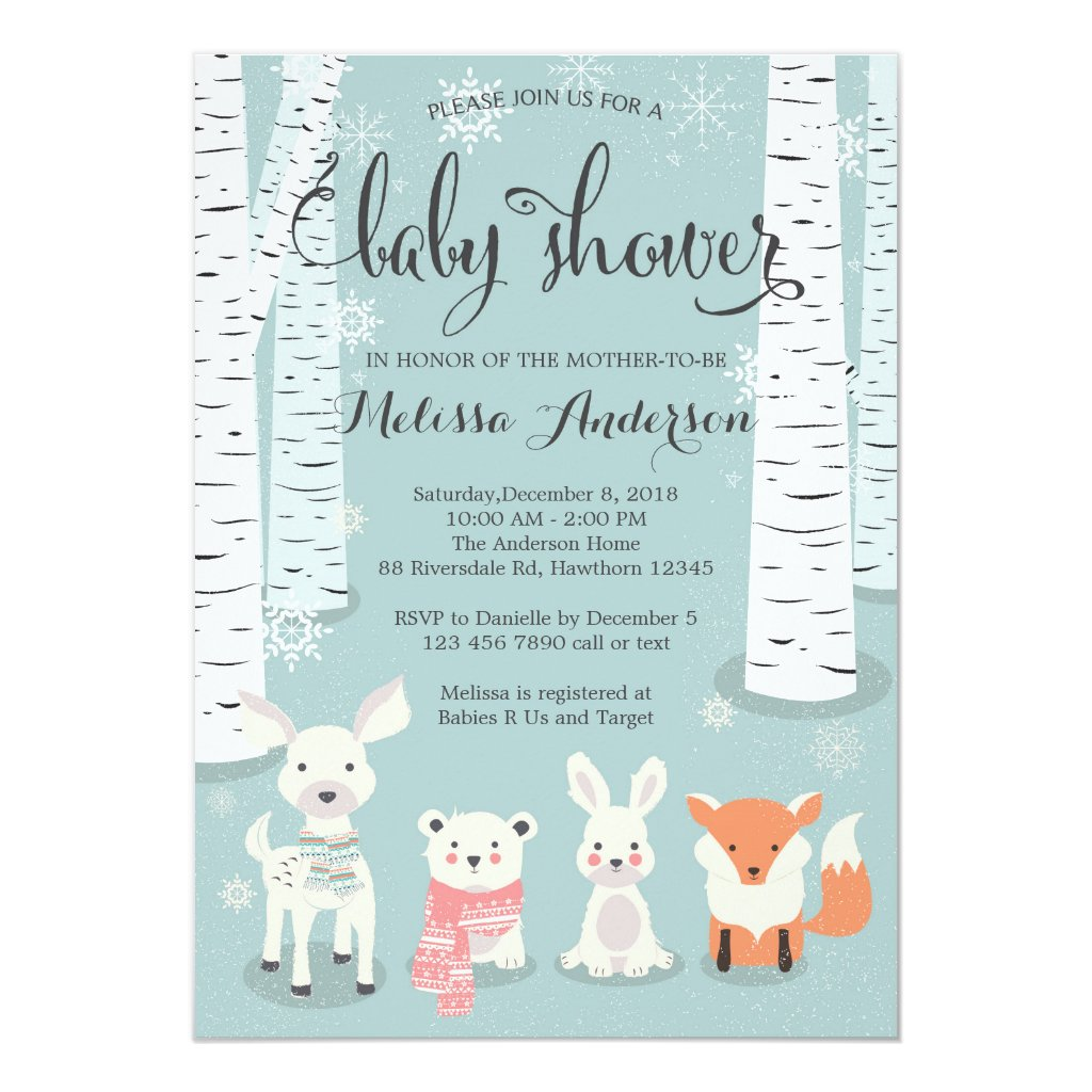 winter woodland baby shower invitation, animals card