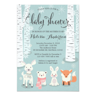 winter woodland baby shower invitation, animals card