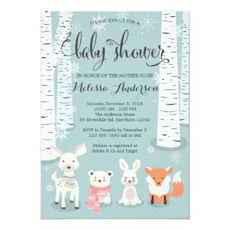 Marvelous Winter Woodland Baby Shower Invitation, Animals Card