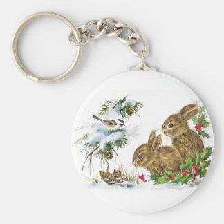 Winter Woodland Basic Round Button Keychain