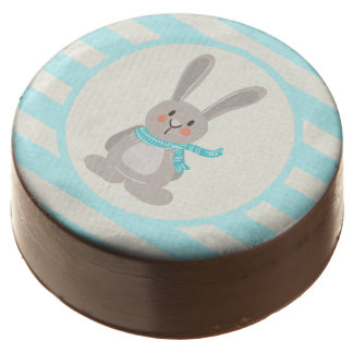 Winter Woodland Bunny Rabbit; Bright Blue Chocolate Dipped Oreo