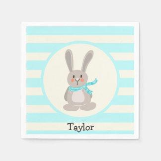 Winter Woodland Bunny Rabbit; Bright Blue Paper Napkin