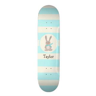 Winter Woodland Bunny Rabbit; Bright Blue Skateboard