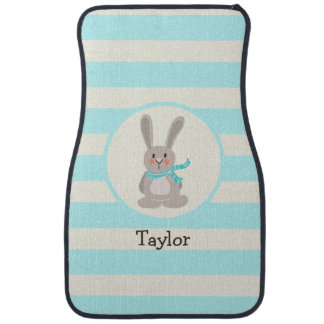 Winter Woodland Bunny Rabbit; Bright Blue Floor Mat