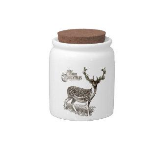 winter woodland christmas deer candy jars