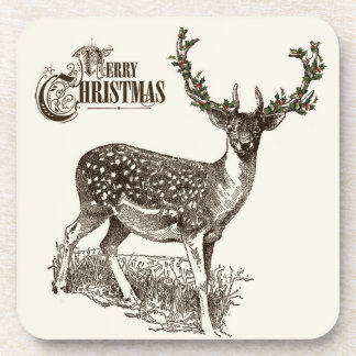 winter woodland christmas deer coaster