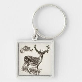 winter woodland christmas deer key chains
