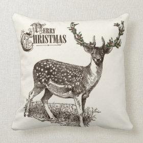 winter woodland christmas deer pillow