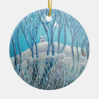 Winter Woodland Cottage Ceramic Ornament