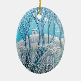 Winter Woodland Cottage Ceramic Ornament