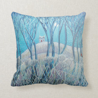 Winter Woodland Cottage Cushion Throw Pillow