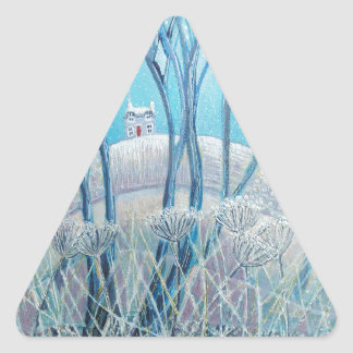 Winter Woodland Cottage Triangle Sticker