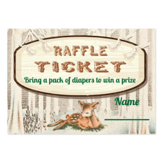 Winter woodland Deer Diaper Raffle tickets Large Business Cards (Pack Of 100)