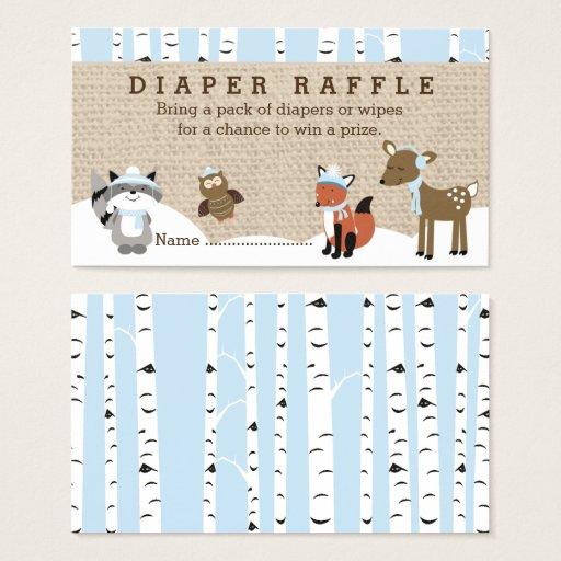 Winter Woodland Diaper Raffle Cards Blue