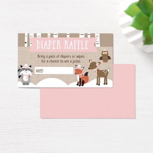 Winter Woodland Diaper Raffle Cards Pink