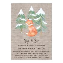 Winter Woodland Fox Sip and See Invitation