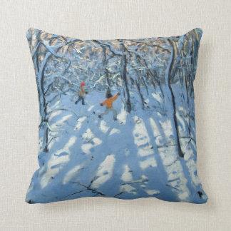 Winter woodland near Newhaven Derbyshire Throw Pillow