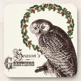 winter woodland owl beverage coasters