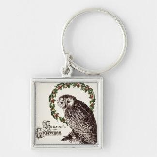 winter woodland owl keychain