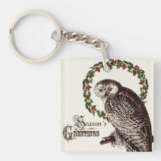 winter woodland owl acrylic keychains