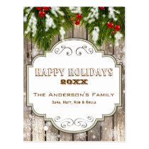 winter woodland pine berries Holiday cards