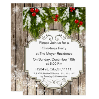 Winter Woodland Pine Holiday Party Invitation at Zazzle