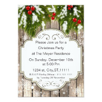 winter woodland pine Holiday party Invitation