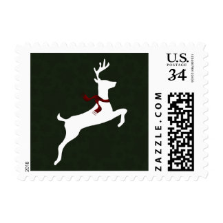 Winter Woodland Reindeer green Holiday stamps