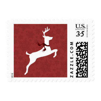 Winter Woodland Reindeer Red Holiday stamps