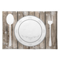 winter woodland rustic place setting placemats