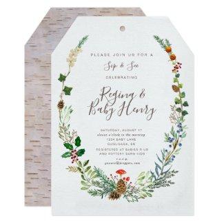 Winter Woodland Sip & See invitation