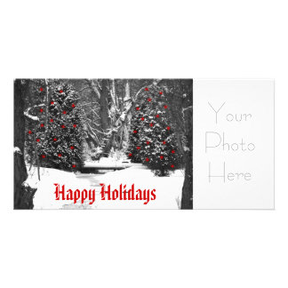 winter woods black and white, Happy Holidays, Y... Photo Card