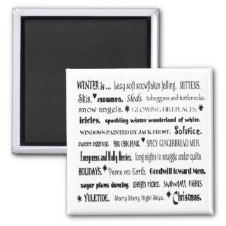 winter word collage magnet