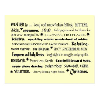 winter word collage post card