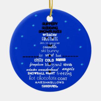 Winter Words Snowman Ornament