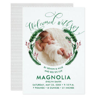 Winter Wreath Birth Announcement Cards