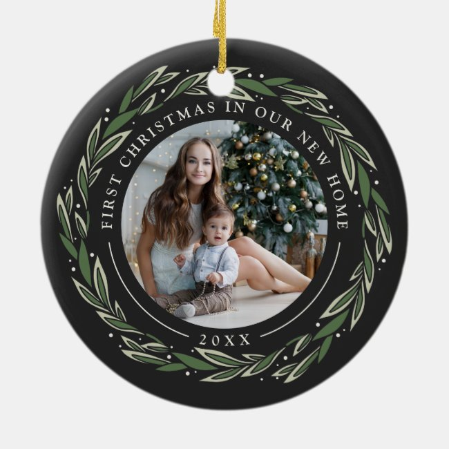 Winter Wreath | First Christmas in Our New Home Ceramic Ornament