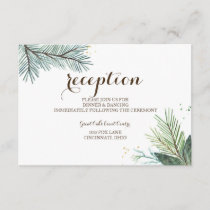 Winter Wreath Rustic Wedding Reception Card
