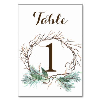 Winter Wreath Wedding Table Number Card