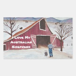 Winterbarn ~ Australian Shepherd & Cowboy Rectangular Sticker