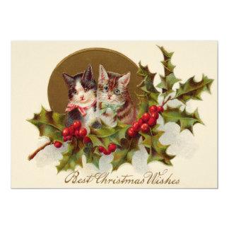 """Winterberry del acebo del gatito del gato invitación 5"""" x 7"""""""