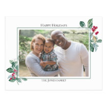 Winterberry Holiday Floral Photo Postcard