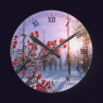 Winterberry in Ice Clock