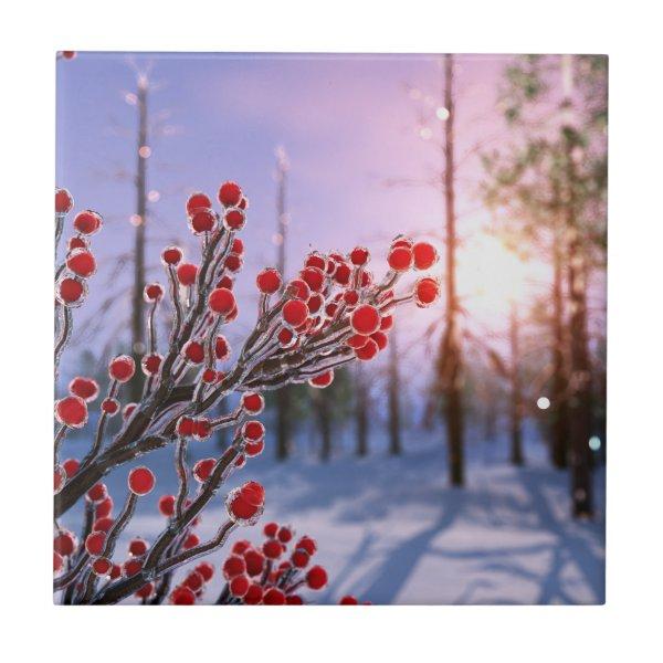 Winterberry in Ice Decorative Tile / Trivet
